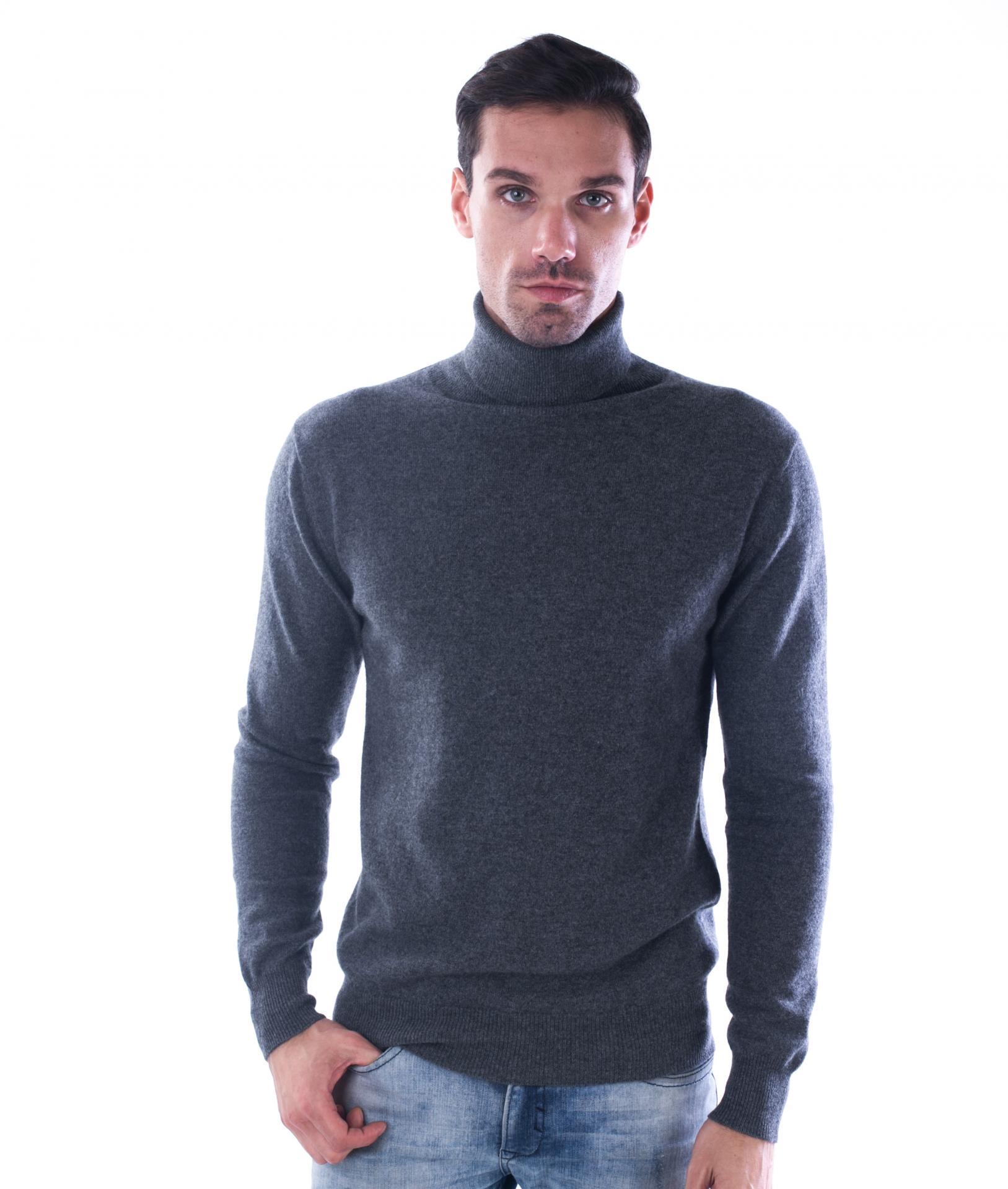 100 cashmere turtleneck sweater aca2445 grey color 1 2