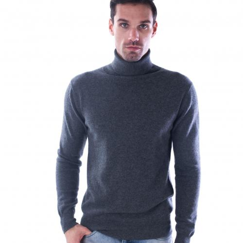 100 cashmere turtleneck sweater aca2445 grey color 1 2