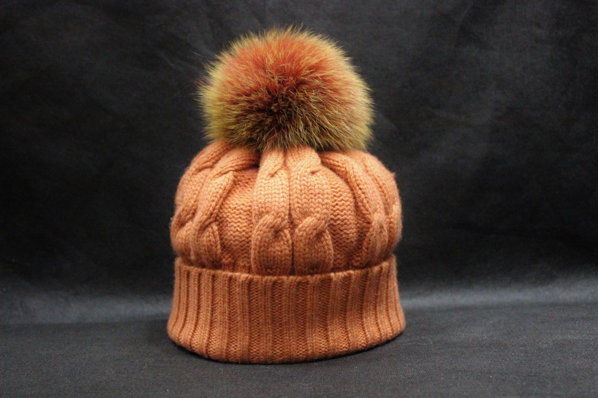 Bonnet pompon orange