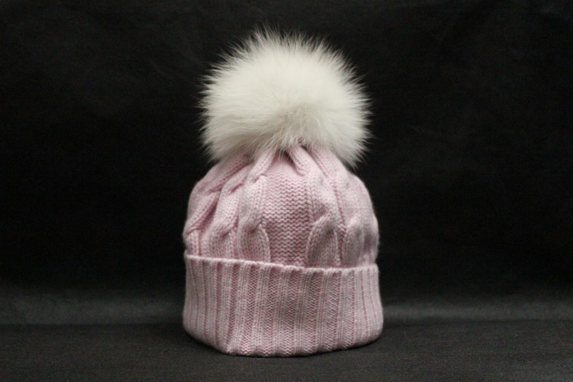 Bonnet pompon rose bebe
