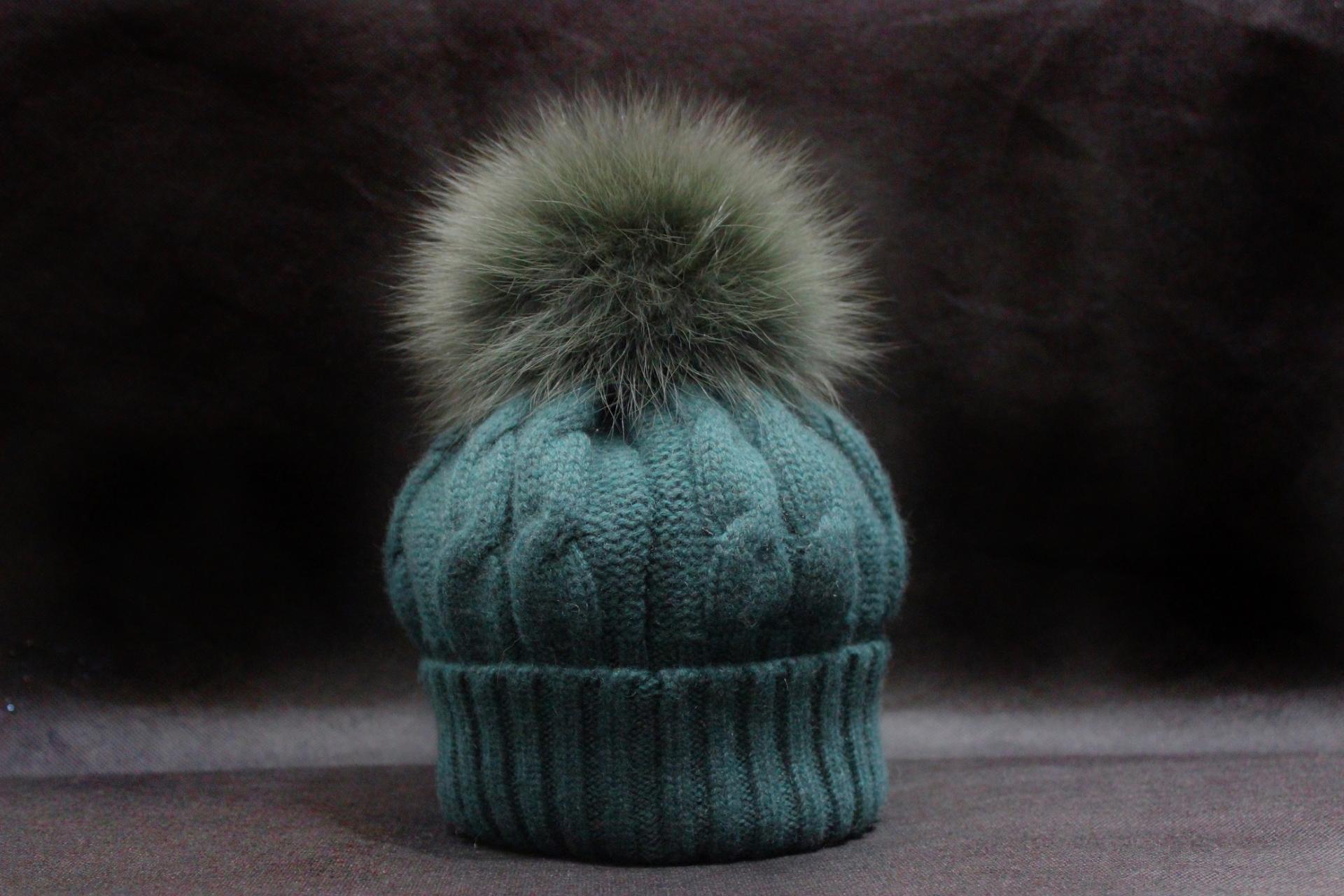 Bonnet pompon vert