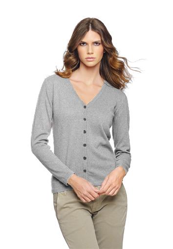 Cardigan femme gris clair 1