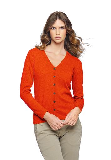 Cardigan femme orange