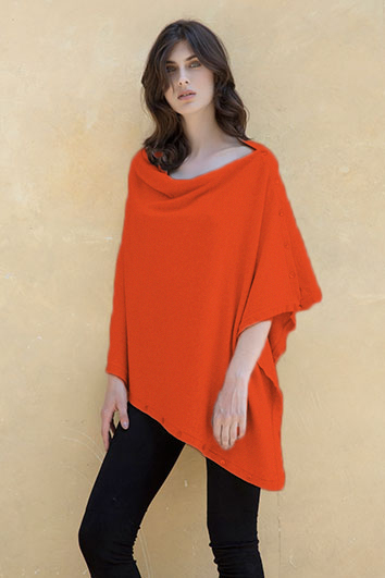 Poncho bouton orange