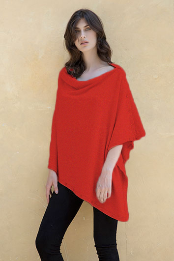 Poncho bouton rosso cerise