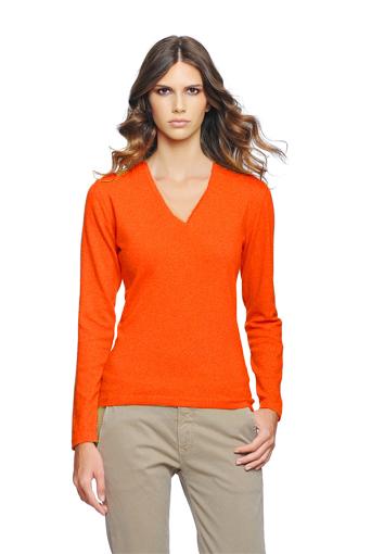 Pull v femme orange