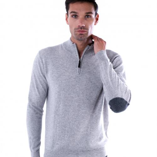 half zip sweater with elbow patches